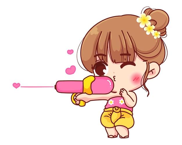 タイの服を着たかわいい女の子が水鉄砲、タイの漫画イラストのソンクラン祭りの看板を持っています