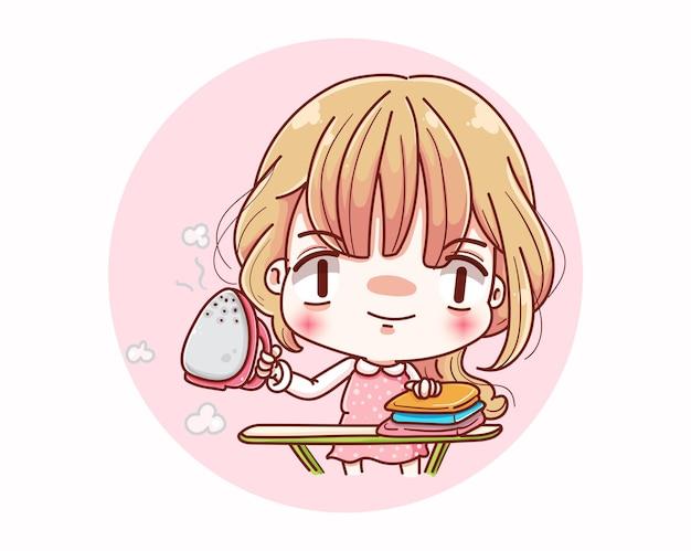 귀여운 소녀 다림질 옷과 만화 캐릭터 디자인.
