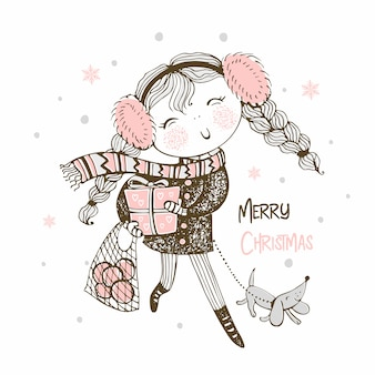 A cute girl is coming with gifts and with a dog christmas greeting
