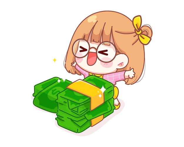 Cute girl is glad to receive the money cartoon illustration