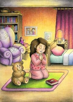 Милая девушка молится богу перед сном в своей уютной комнате