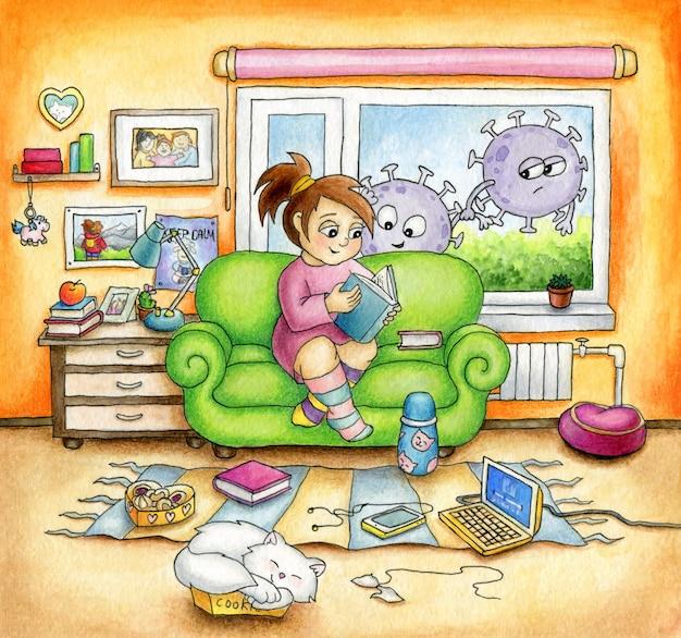 Милая девушка сидит дома на диване и с большим удовольствием читает книгу. мультяшные коронавирусы за окном заглядывают внутрь. концепция карантина.