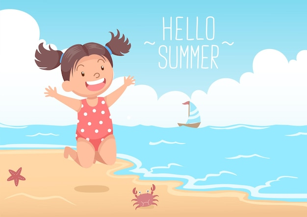 Cute girl jumping at the beach hello summer