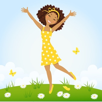 Cute girl jumping in spring meadow