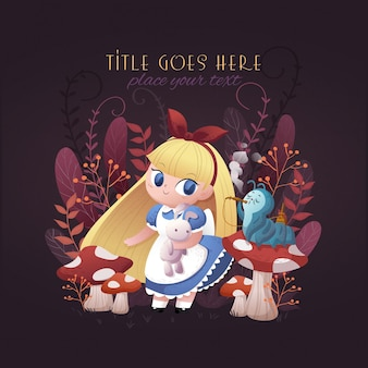 Cute girl in jungle illustration, book cover