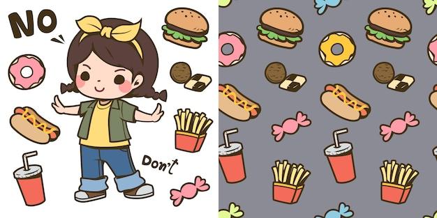 Cute girl and junk food