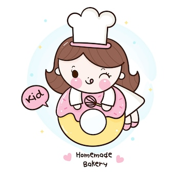 Cute girl kawaii bakery shop logo cartoon for homemade kid dessert
