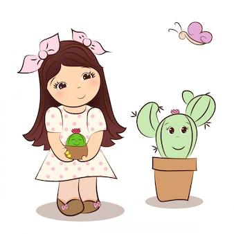 Cute girl and kawaii cactus