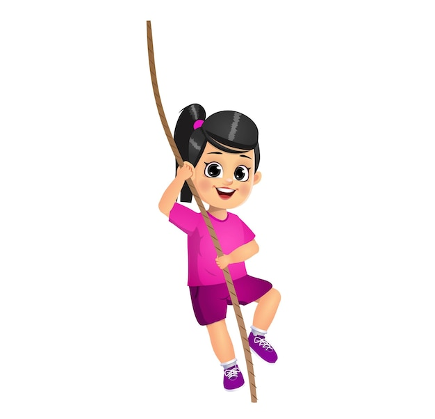 ロープに登るかわいい女の子の子供