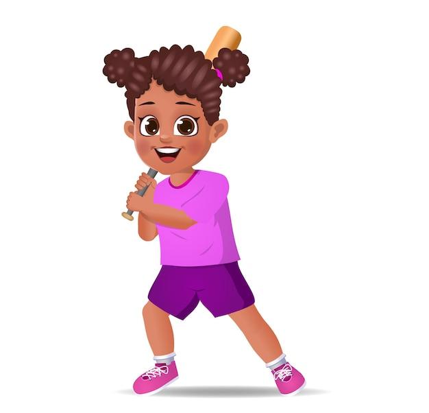 Cute girl kid playing baseball