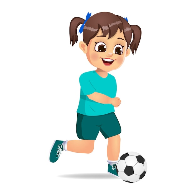 Cute girl kid playing soccer