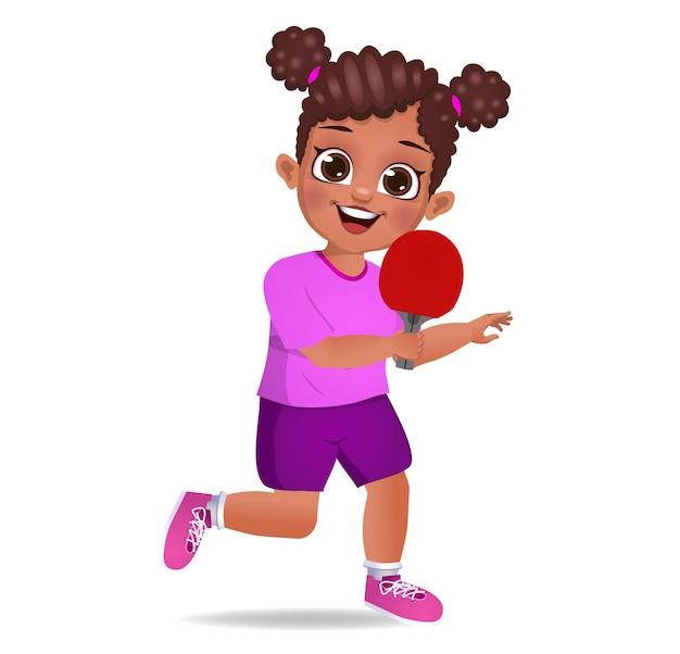 卓球をしているかわいい女の子の子供 Premiumベクター