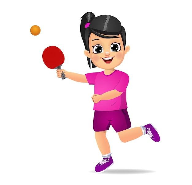 卓球をしているかわいい女の子の子供