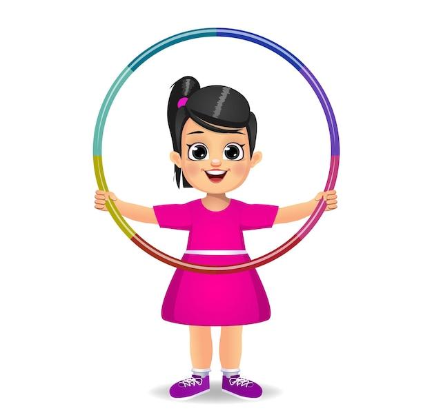 フラフープで遊ぶかわいい女の子の子供 Premiumベクター