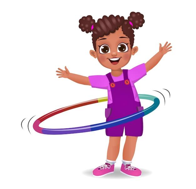 フラフープで遊ぶかわいい女の子の子供