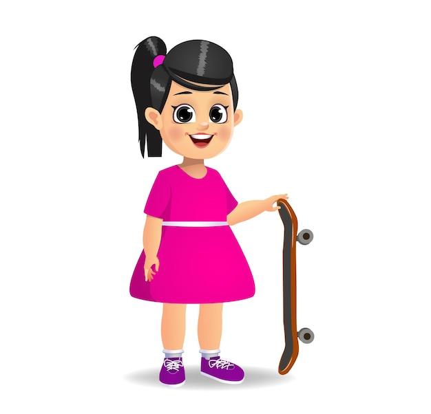 스케이트 보드를 가지고 노는 귀여운 여자 아이