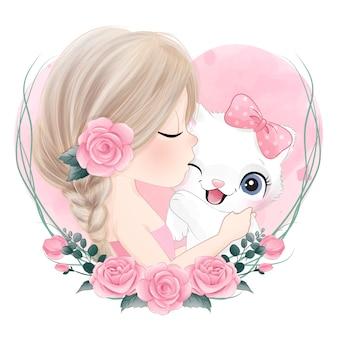 Милая девушка целует маленького котенка с акварельной иллюстрацией