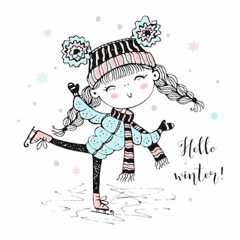 Cute girl in a knitted hat skating. hello winter.