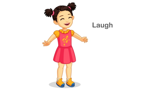 Cute girl laughing illustration