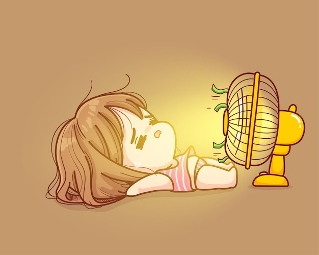 Cute girl lay down in front of fan very hot in summer cartoon illustration