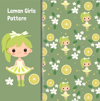 Cute girl and lemon seamless pattern