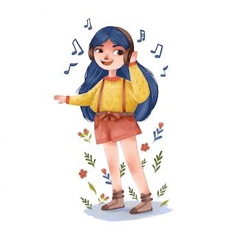 Cute girl listening to music in headphones