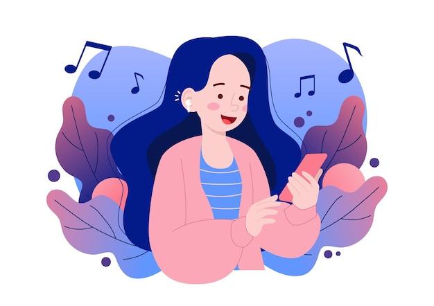Милая девушка слушает музыку по телефону с беспроводными наушниками