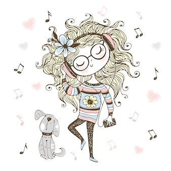 Cute girl listening to music with headphones and dancing.