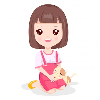 Cute girl and little cat