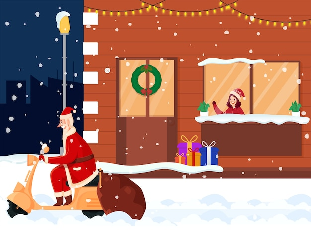Cute girl look at santa riding on scooter from window with snow falling background