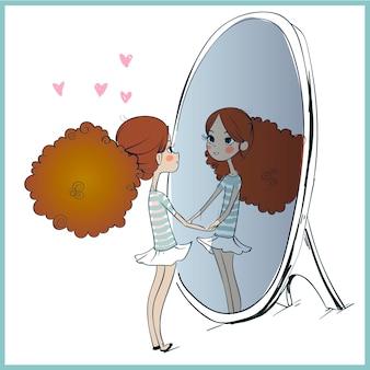 거울에 비친 자신의 모습을 보고 있는 귀여운 소녀. 흰색 절연 손으로 그린 벡터 일러스트 레이 션