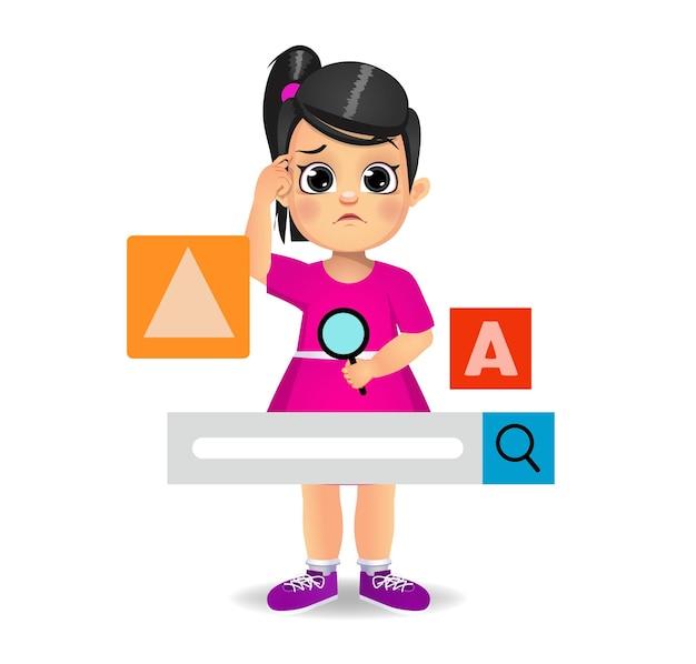 Симпатичная девушка ищет в интернете с помощью панели поиска