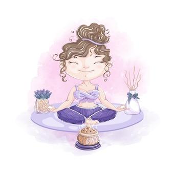 la ragazza sveglia nella posizione di loto medita con la lampada dell'aroma. relax domestico e trattamenti di bellezza.