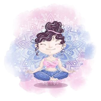 かわいい女の子はマンダラの背景に蓮華座で瞑想します。ホームリラクゼーションと美しさ。