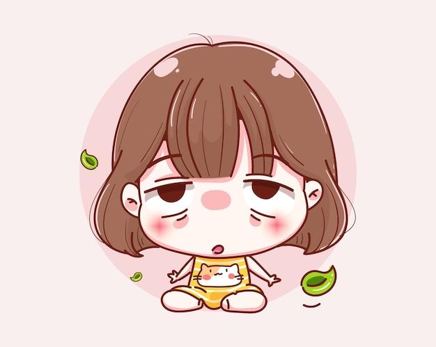 귀여운 소녀 명상과 캐릭터 디자인.