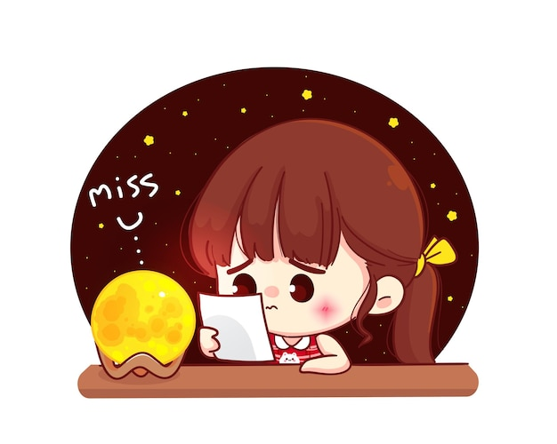 Cute girl missing someone, cartoon character illustration