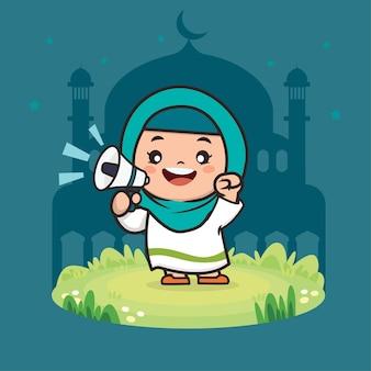 Милая девушка мусульманин рамадан мультипликационный персонаж иллюстрации