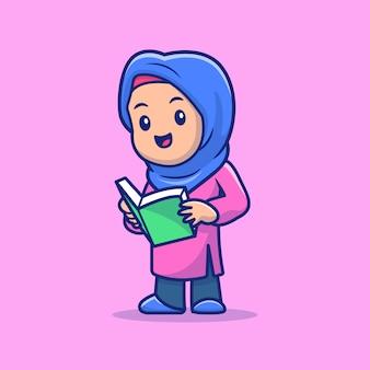 Симпатичная девушка мусульманского чтения книги иллюстрации. рамадан талисман мультипликационный персонаж. человек . плоский мультяшный стиль