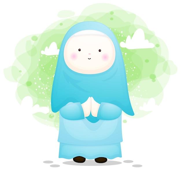 ラマダンのためのかわいい女の子のイスラム教徒
