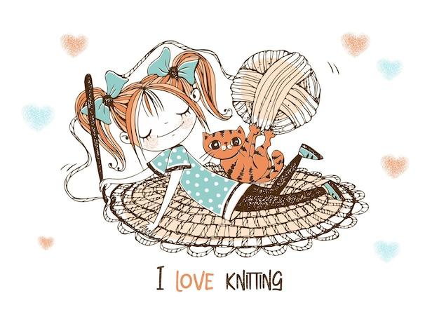かわいい女の子の針編みの女性は敷物をかぎ針編みします。ベクター。 Premiumベクター