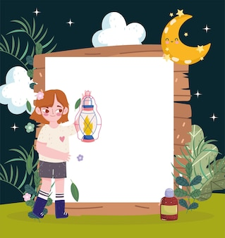 Cute girl in night wood with blank frame