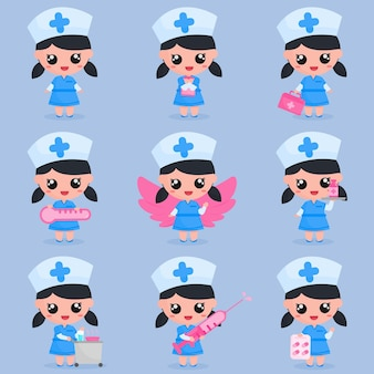 Cute girl nurse character with medical tools in set bundle