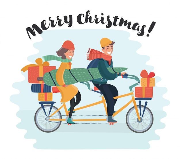 犬の思いやりのあるクリスマスツリーとカラフルなギフトボックスと自転車でかわいい女の子。買物熱。幸せな休日のコンセプトです。イラストと写真の画像が利用可能。
