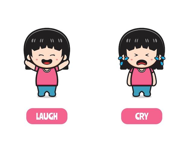 Милая девушка напротив смеяться и плакать, антоним слов для иллюстрации значка шаржа детей. дизайн изолированные плоский мультяшном стиле
