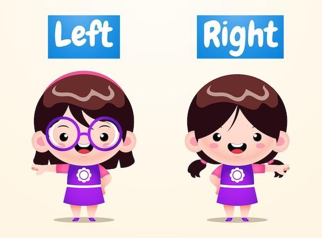Cute girl opposite left right