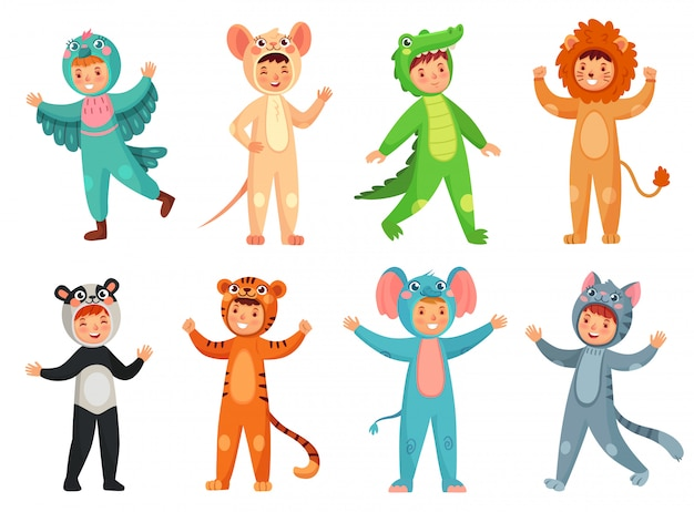 Cute girl in panda costume, little boy in elephant suit and kids party mascot vector illustration set