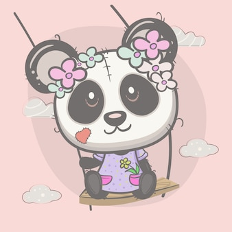 Cute girl panda swinging