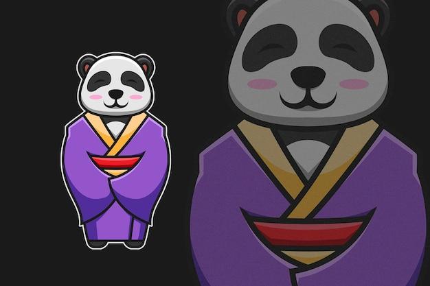 기모노를 입은 귀여운 소녀 팬더 일본 문화