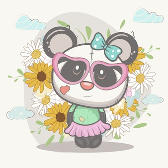 Cute girl panda with flowers