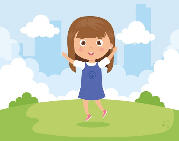 Cute girl in the park nature vector illustration design